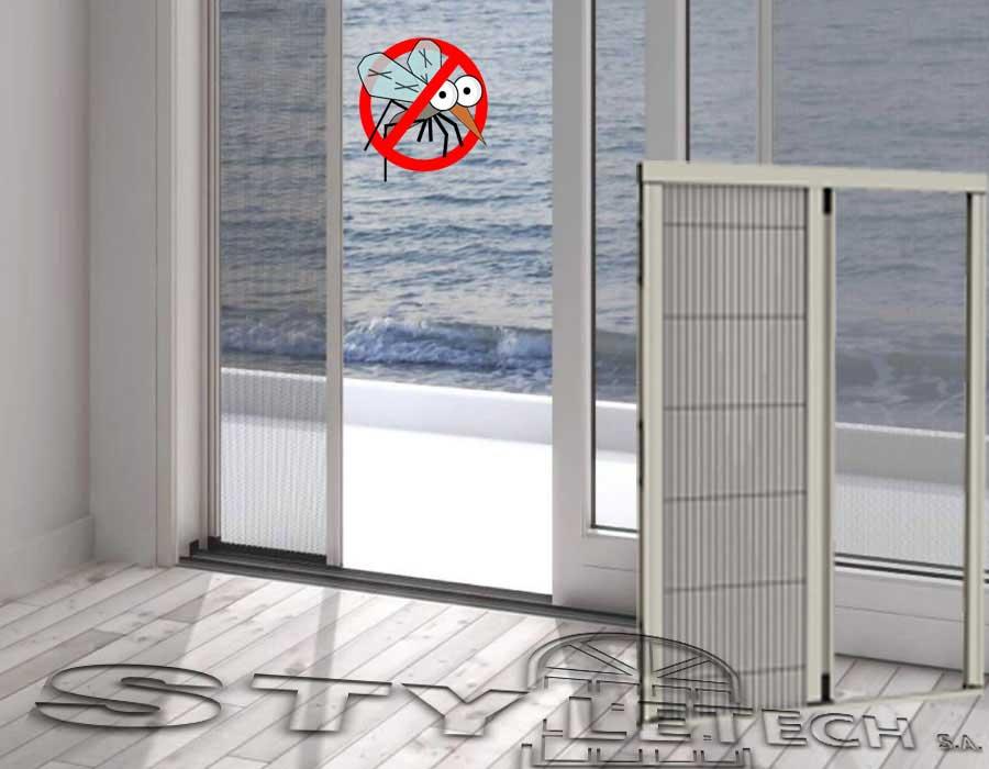 Σήτα Plisse οριζόντιας κίνησης χωρίς οδηγό για πόρτες και παράθυρα